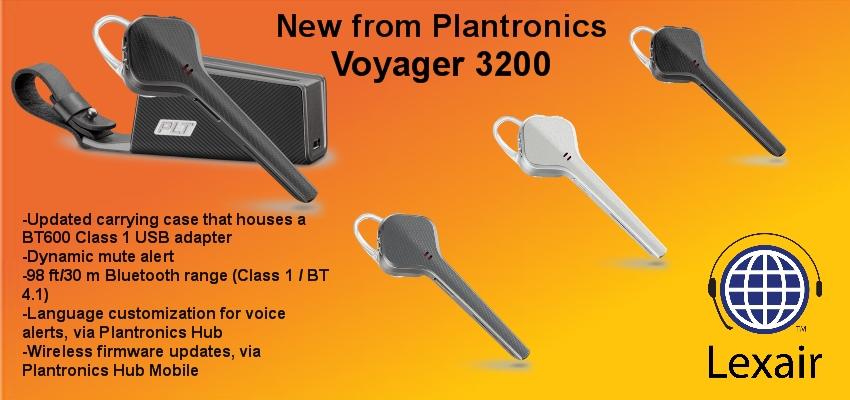 Introducing Plantronics Voyager 3200 Series Bluetooth Headset System Lexair